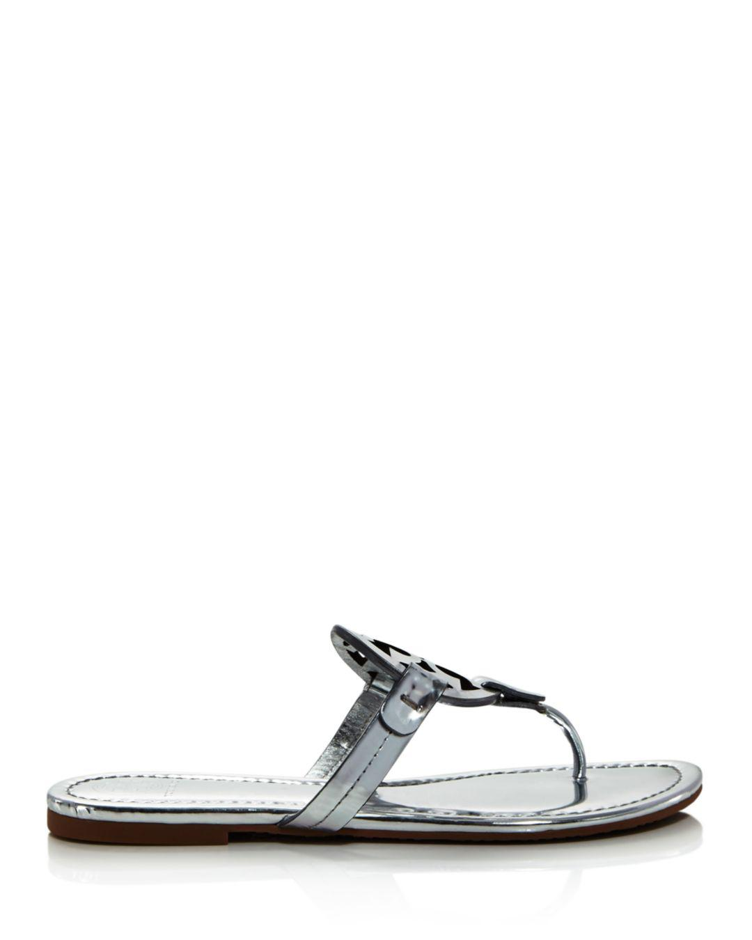 62db2eecb91 Tory Burch Women s Miller Leather Thong Sandals in Metallic - Lyst