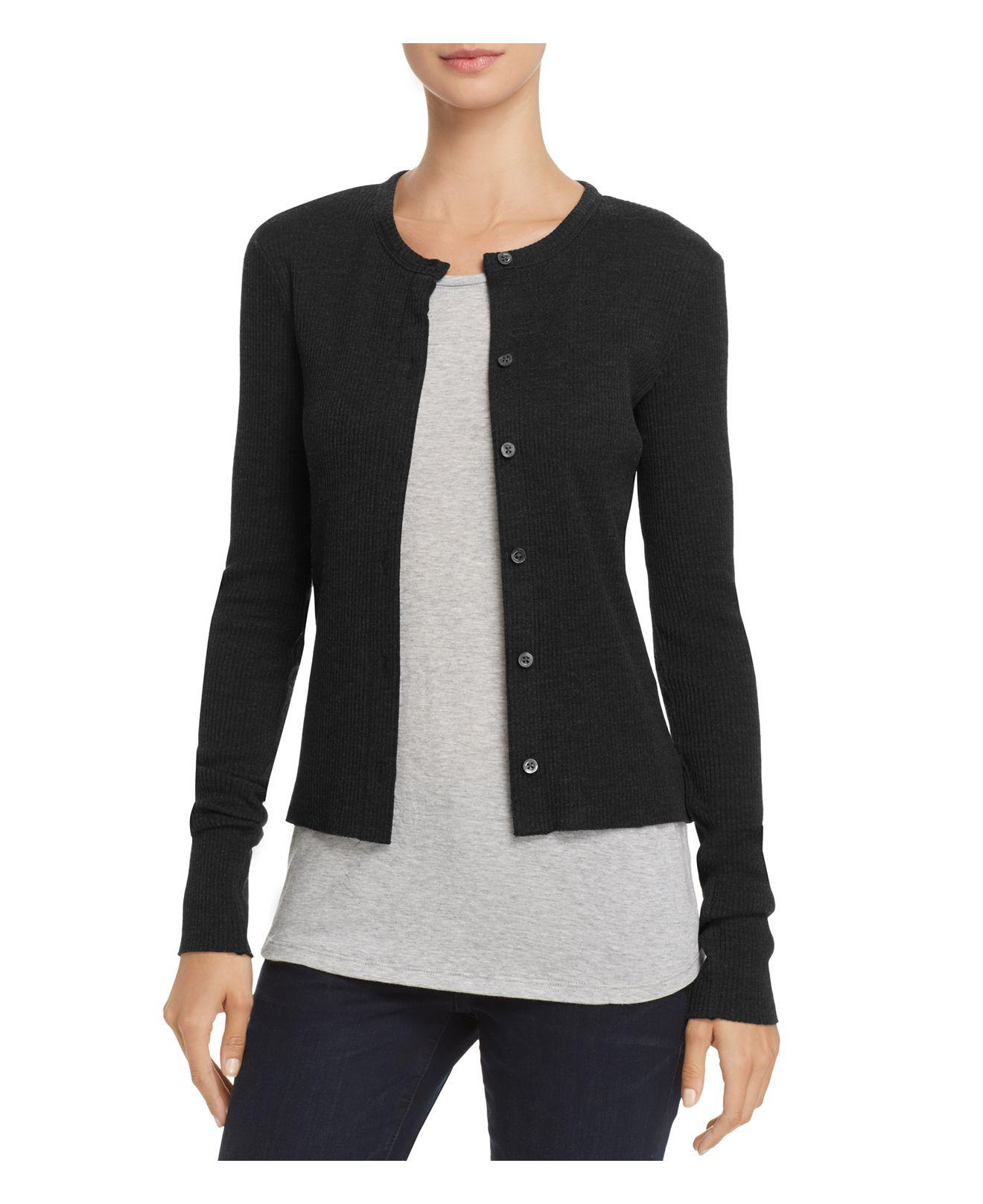 Theory Basic Ribbed Cardigan Sweater in Black | Lyst