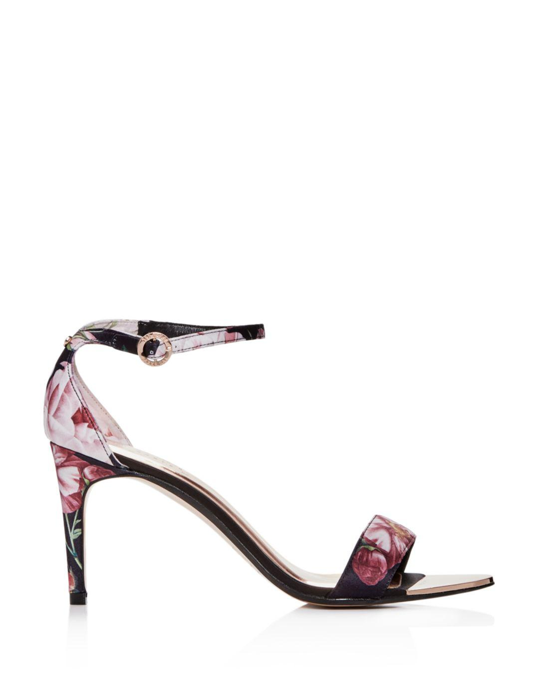 abdea3eef3d Lyst - Ted Baker Women s Mylli Floral Satin Ankle Strap High-heel ...