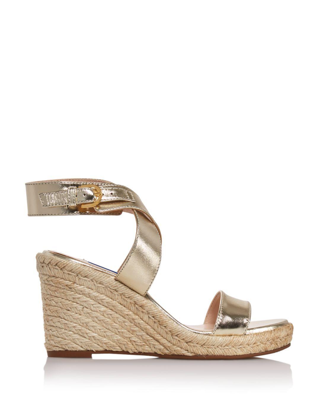c569a4e98739 Lyst - Stuart Weitzman Lexia Metallic Leather Wedge Sandals