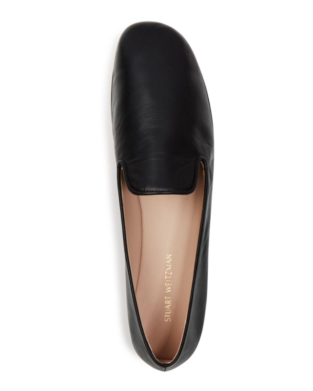 4309186f0e1 Stuart Weitzman Women s Myguy Leather Smoking Slippers in Black - Lyst
