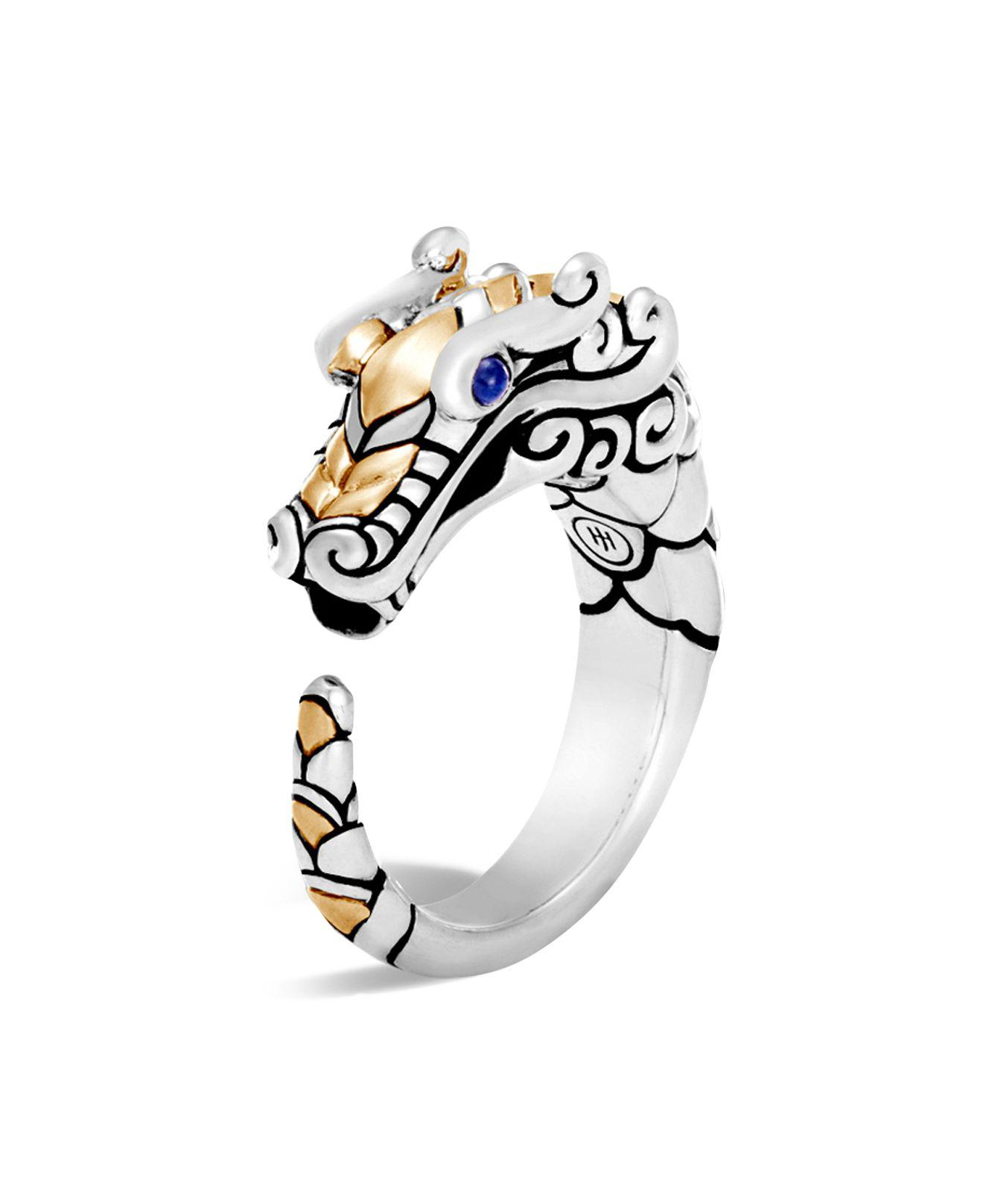 John Hardy Legends Naga 18K Gold & Silver Ring with Sapphires KF8W9fZHkE