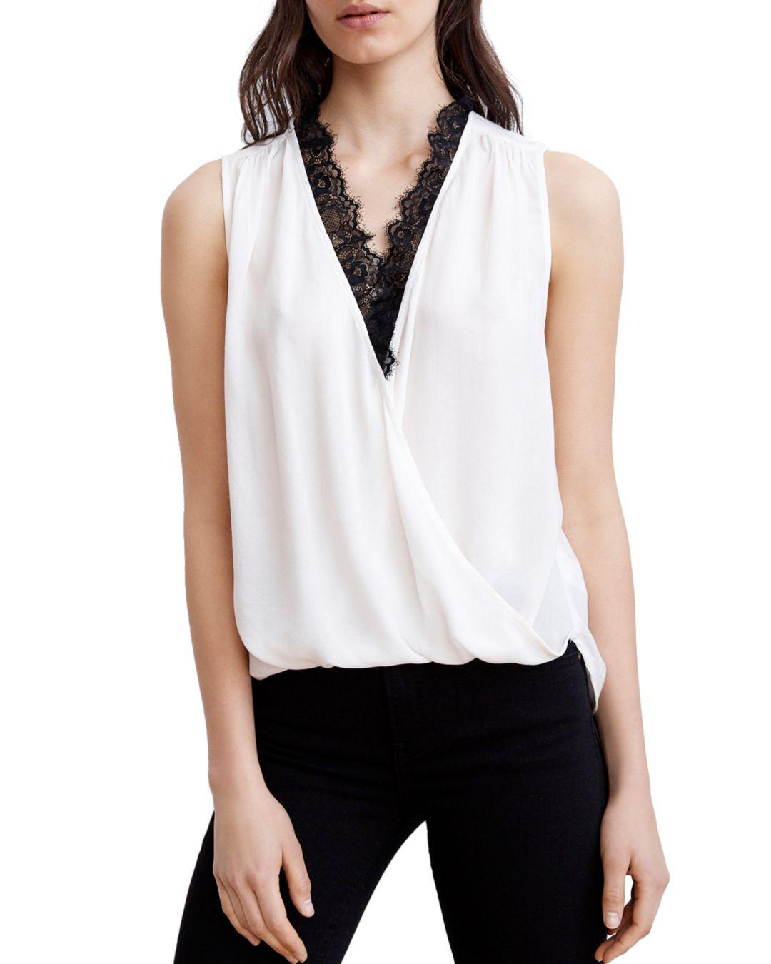 6863d695ed0eb Velvet By Graham   Spencer Lace-trim Crossover Top in White - Save ...