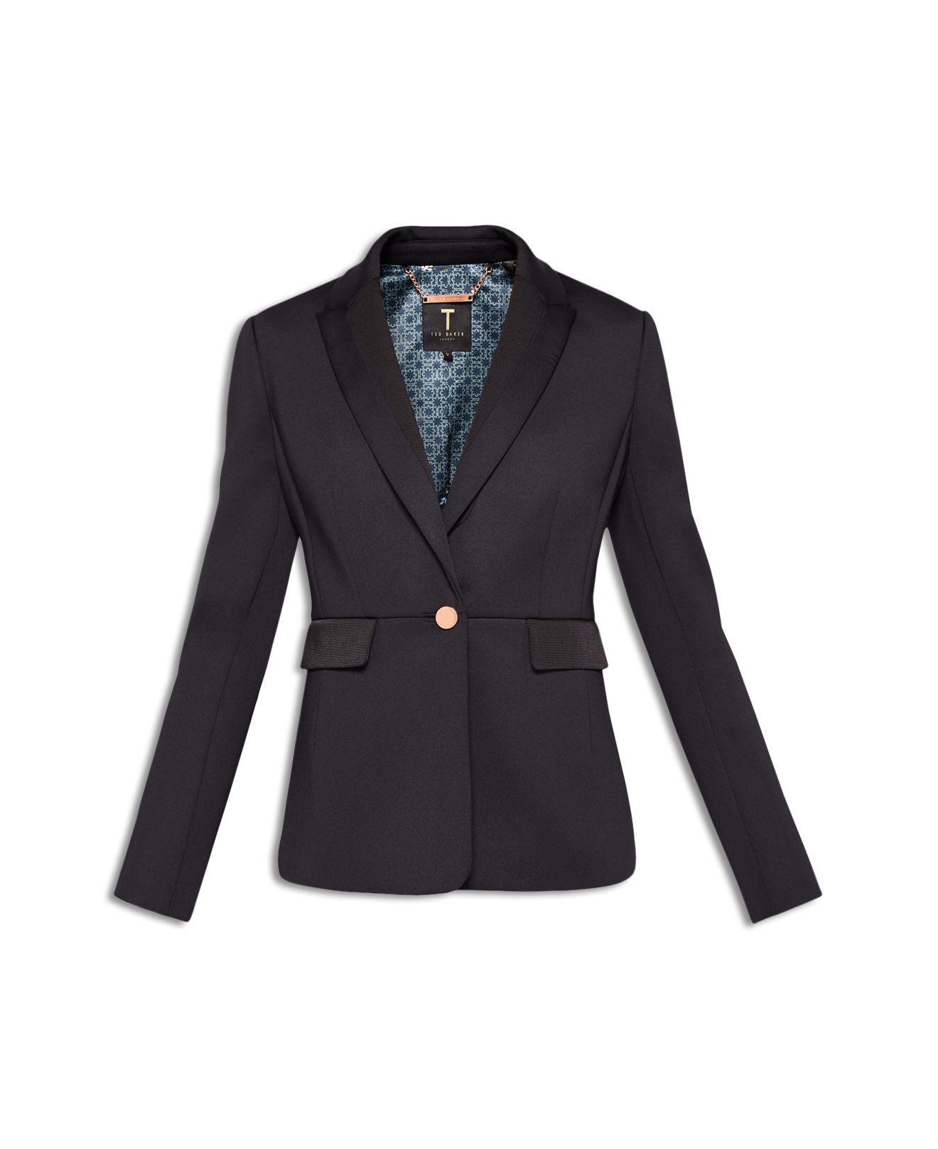 7872960bd01824 Lyst - Ted Baker Gresa Ottoman Contrast Blazer in Black