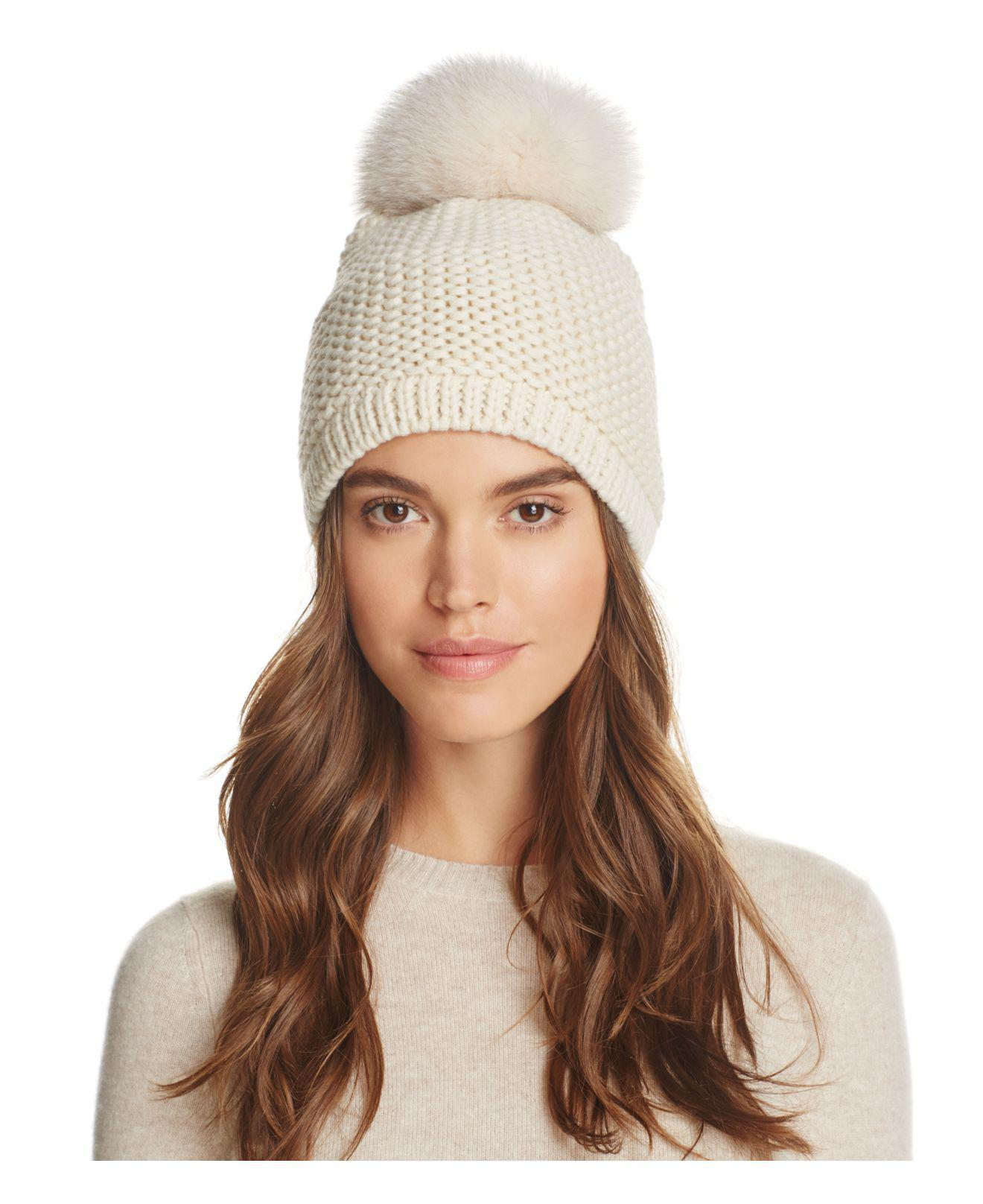 Lyst - Kyi Kyi Slouchy Hat With Fox Fur Pom-pom in Natural 6981bf73010