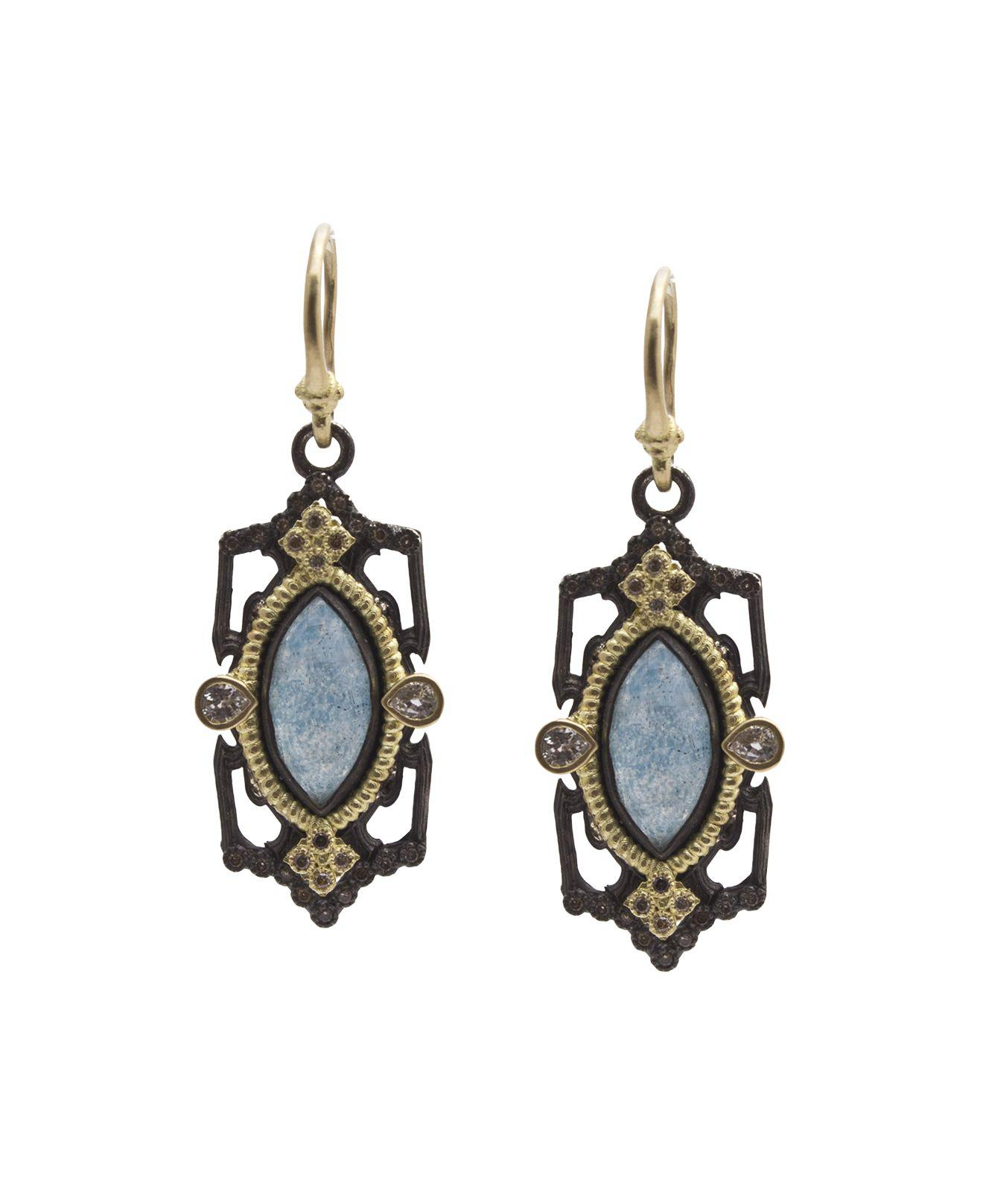 Armenta Old World Octagonal Earrings with Diamonds & White Sapphires e3L6kb