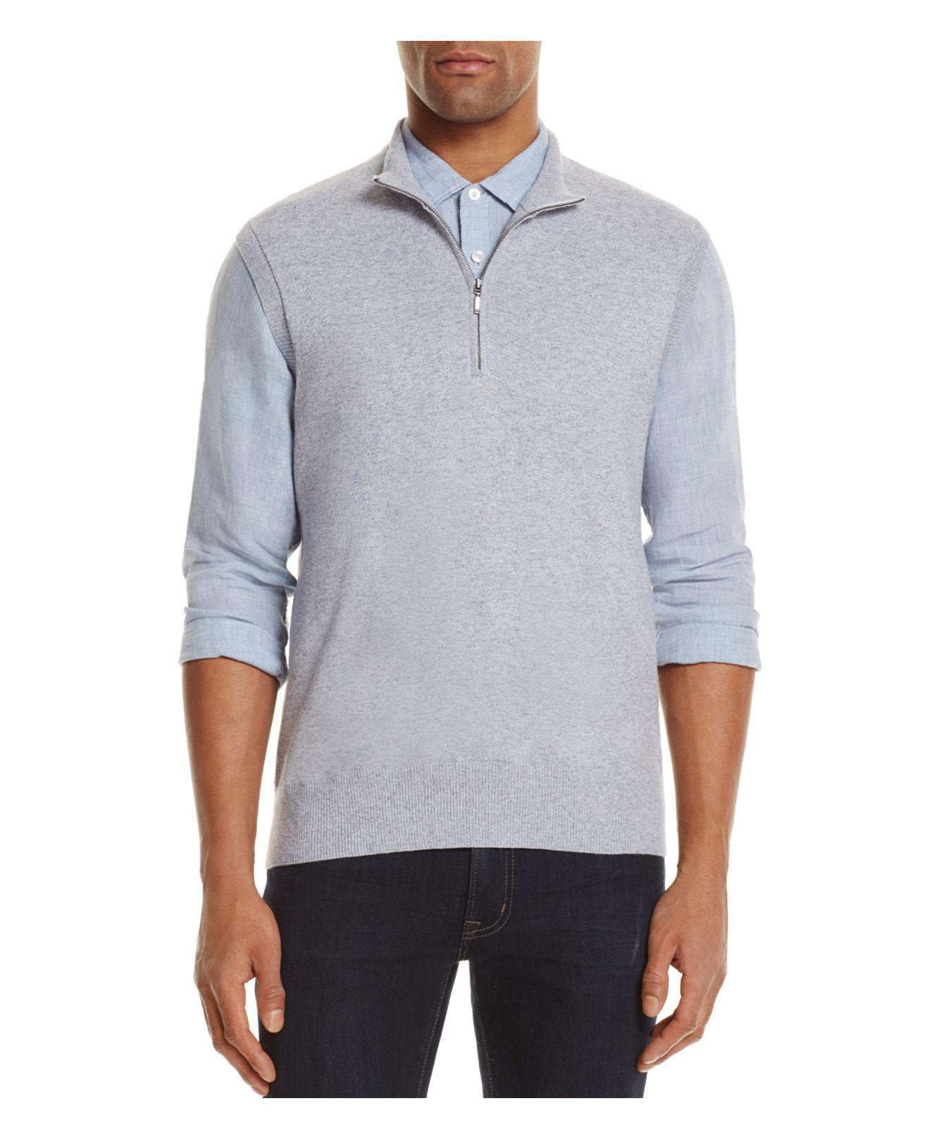 Ag green label Voss Cashmere Blend Half-zip Sweater Vest in Gray ...