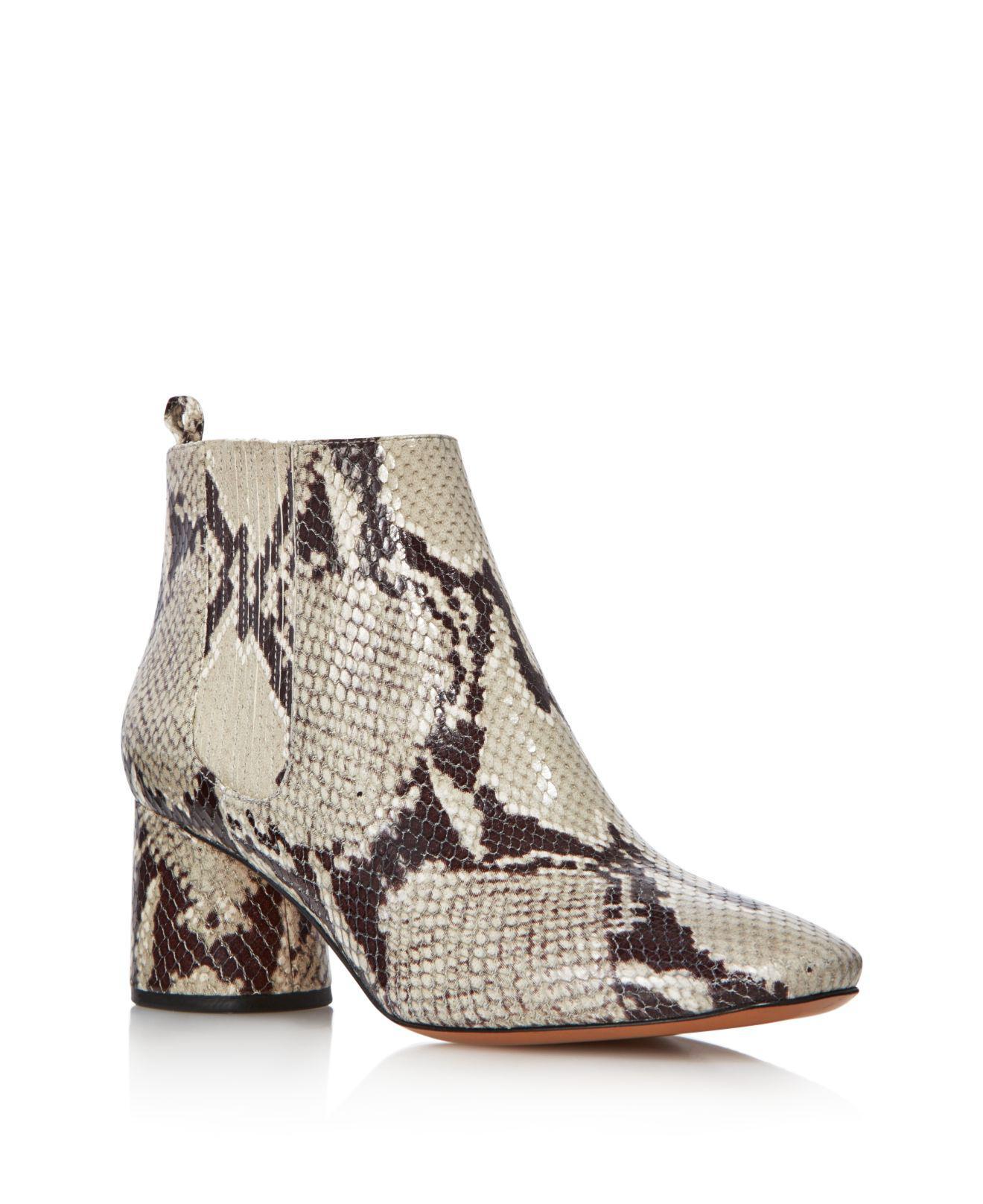 Marc Jacobs Women's Rocket Snake-Embossed Leather Round Block Heel Chelsea Booties 3SJVGuCir