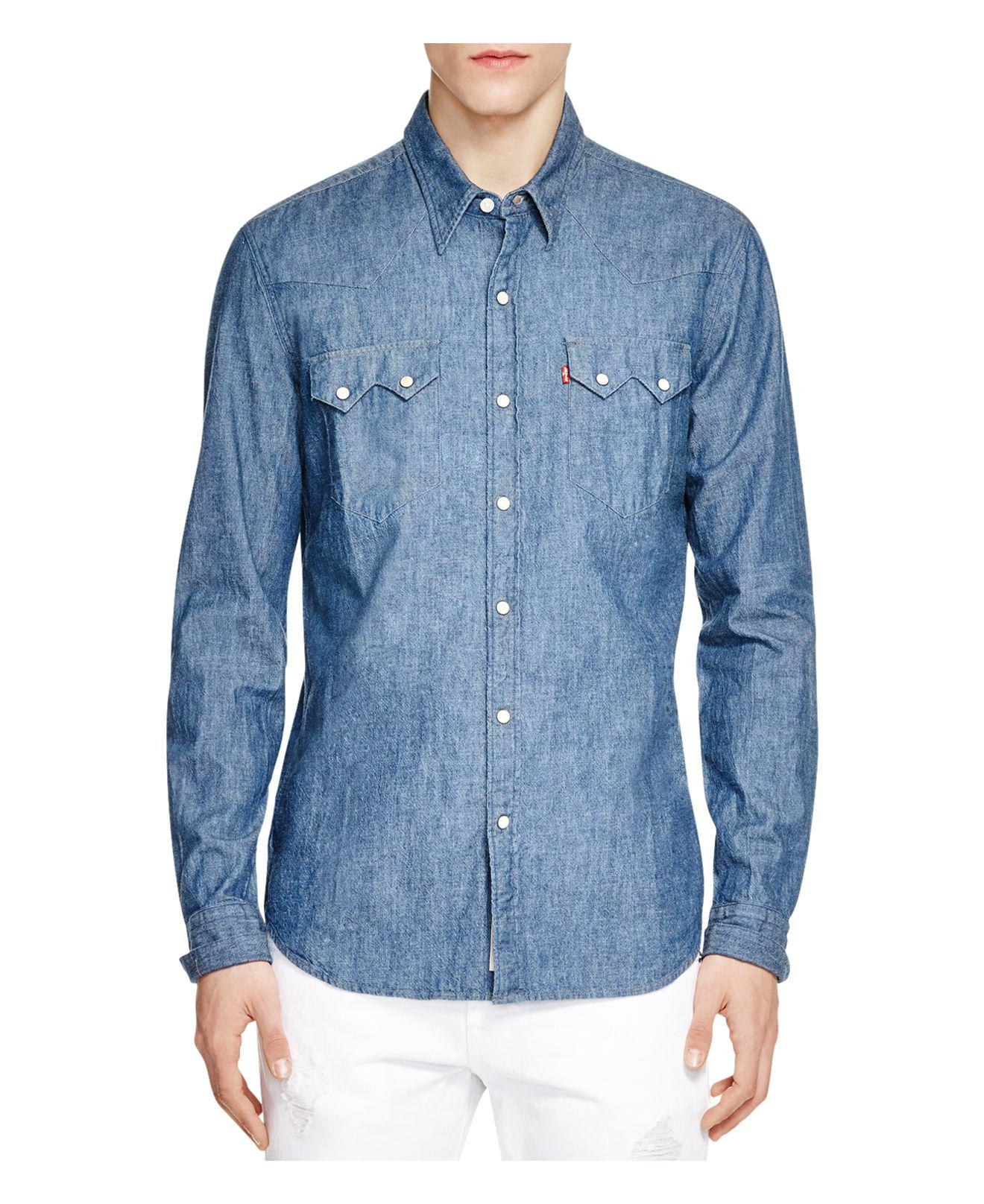 5f26522e9a Lyst - Levi s 1955 Sawtooth Selvedge Denim Slim Fit Snap Front Shirt ...