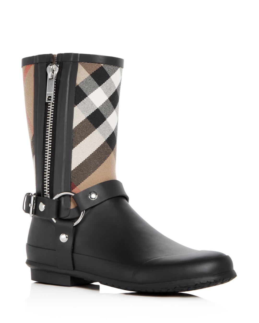 fdcc01943e8c Lyst - Burberry Women s Zane Signature Check Rain Boots in Black