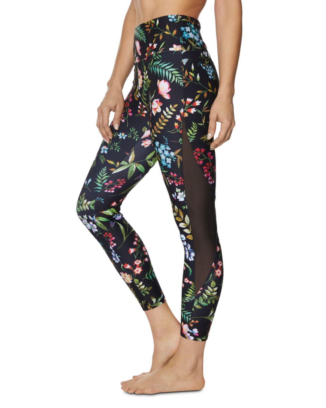 af91210f6cbaaf Lyst - Betsey Johnson Mesh-inset Botanical Jersey Leggings in Black