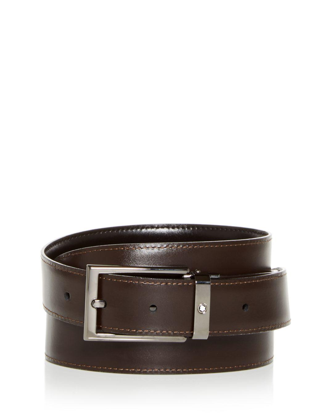b4ed476ce23 Lyst - Montblanc Contemporary Reversible Leather Belt in Brown for Men