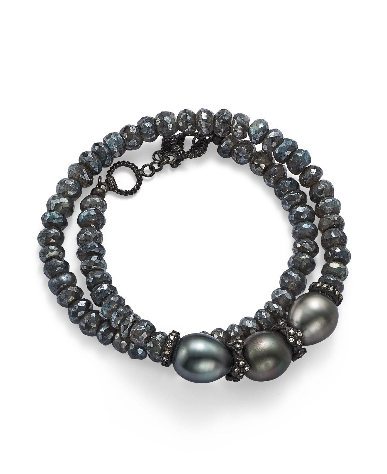 Armenta Old World Tahitian Pearl Pull-Cord Bracelet with Champagne Diamonds 5zL1kDuTk9