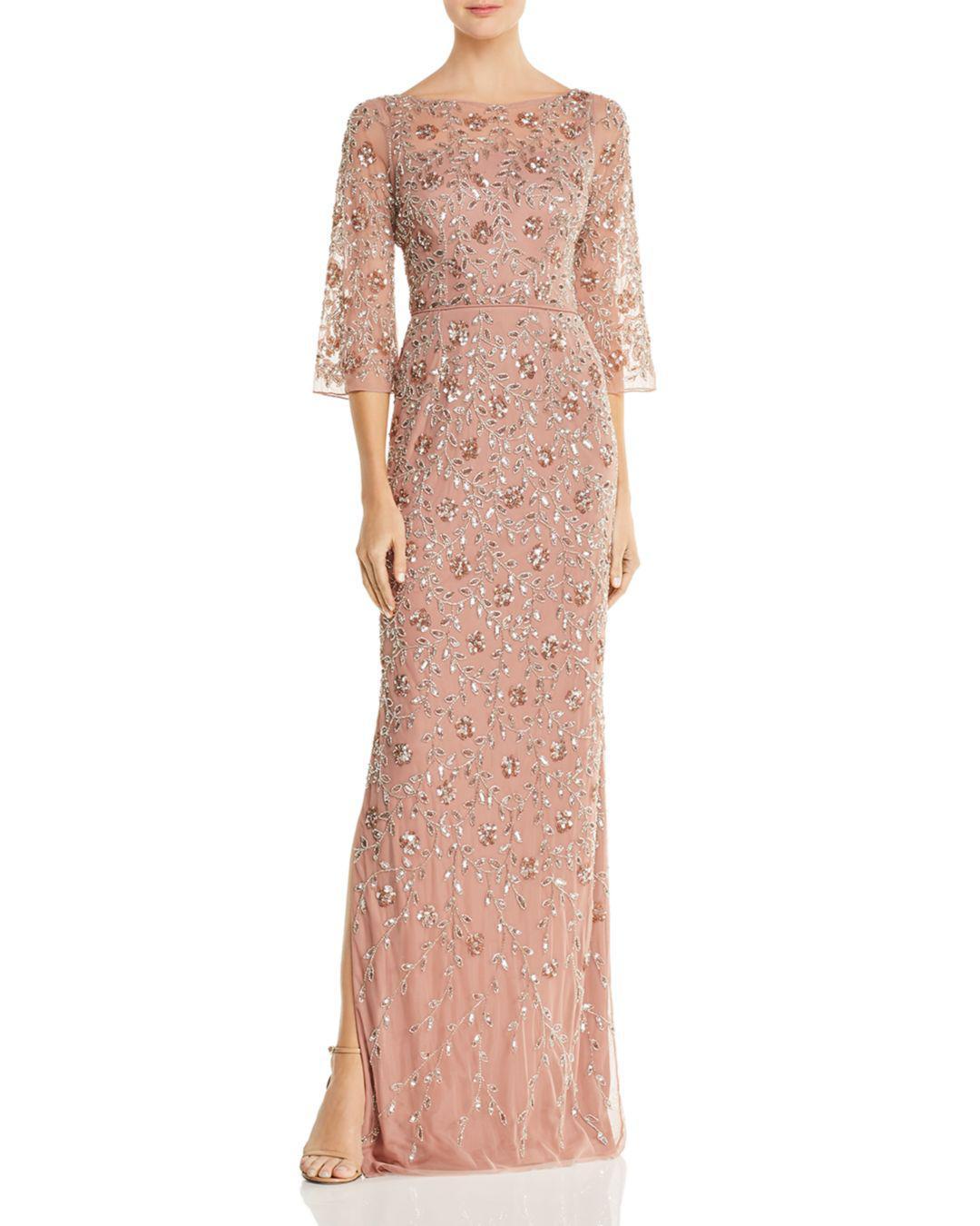 f560ec1e321 Lyst - Aidan Mattox Embellished Boatneck Gown in Pink
