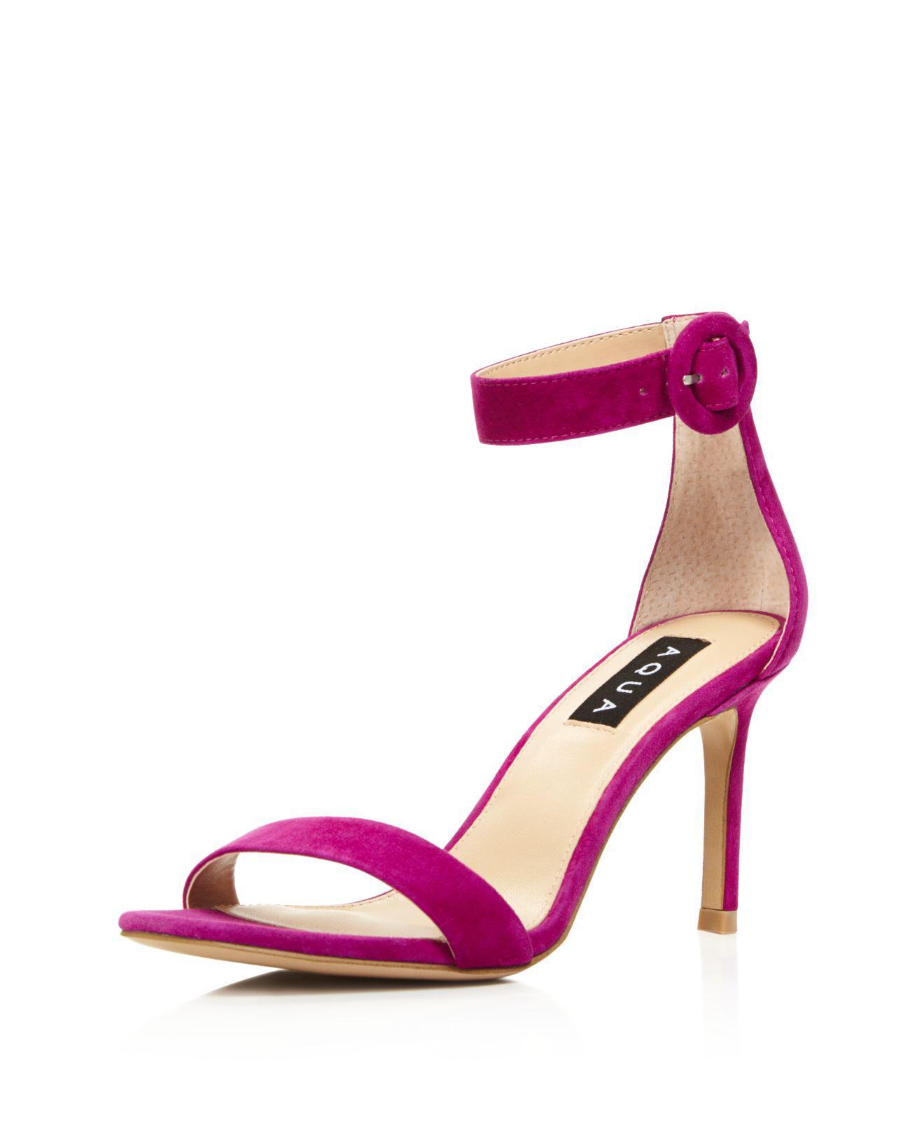 Aqua Women's Seven Suede High-Heel Ankle Strap Sandals - 100% Exclusive QmTq9d7K
