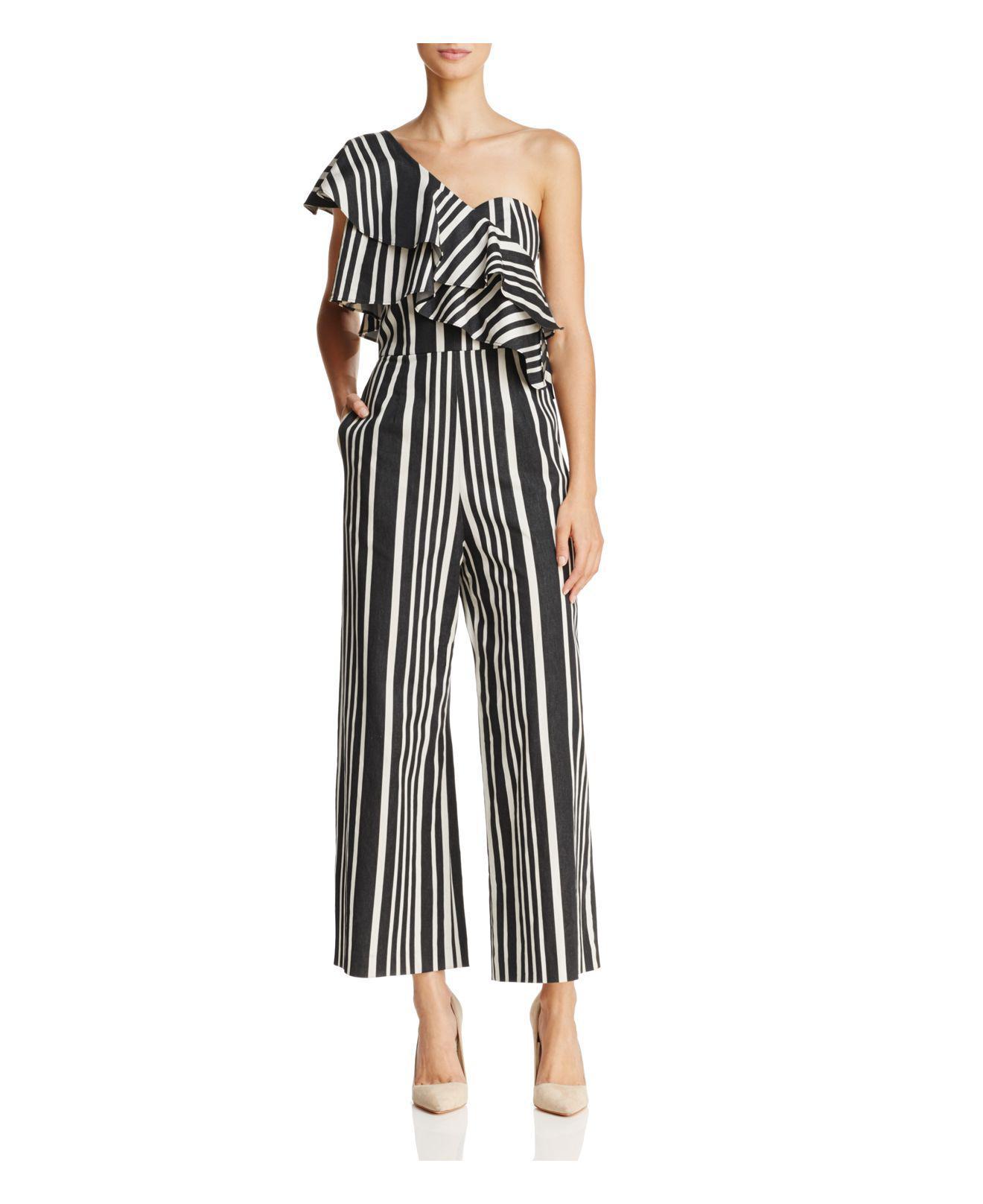 e5baffae8bcd Lyst - Alice + Olivia Sabeen One-shoulder Striped Jumpsuit in Black