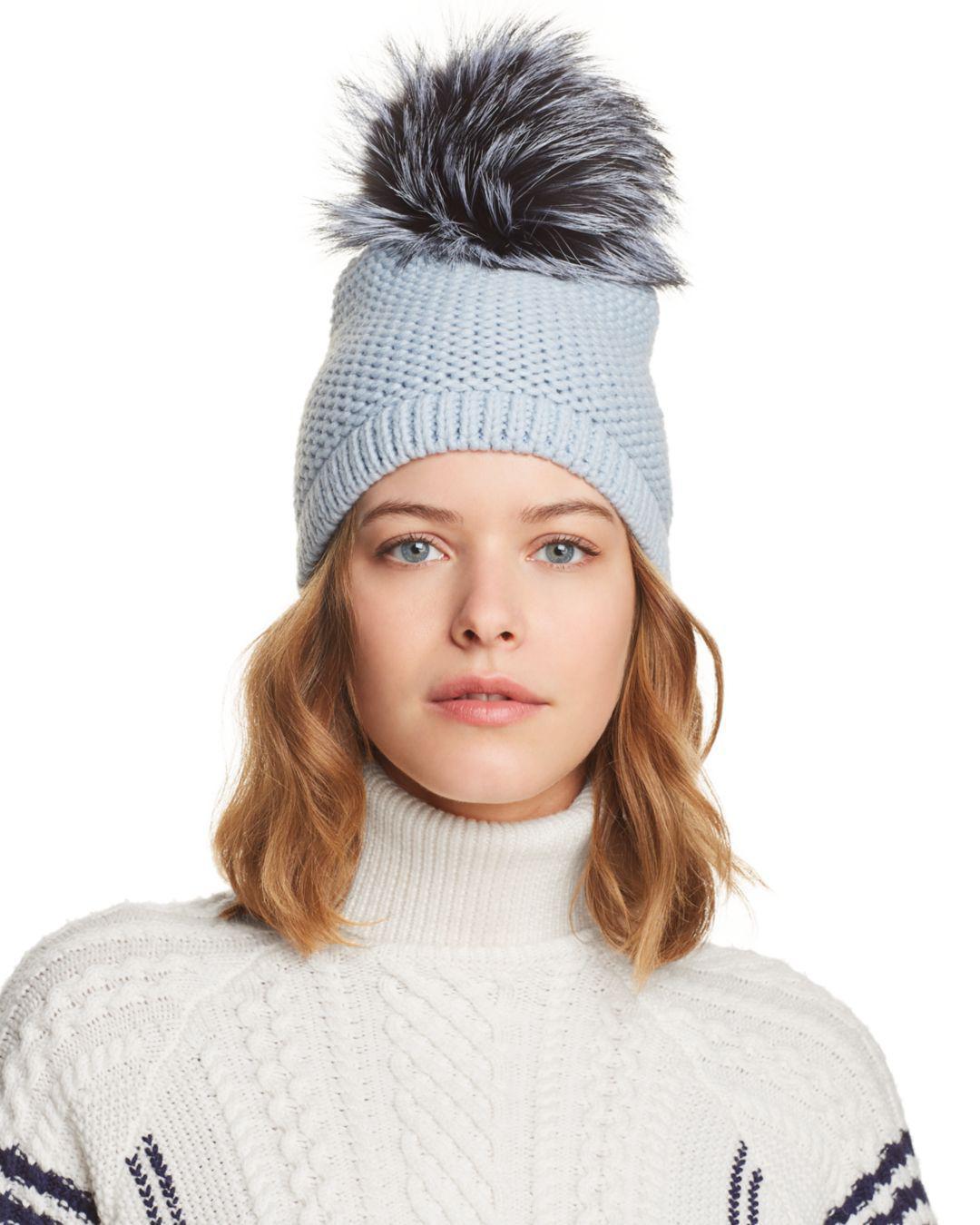 989f3ea071e Kyi Kyi Slouchy Hat With Fox Fur Pom-pom in Blue - Lyst