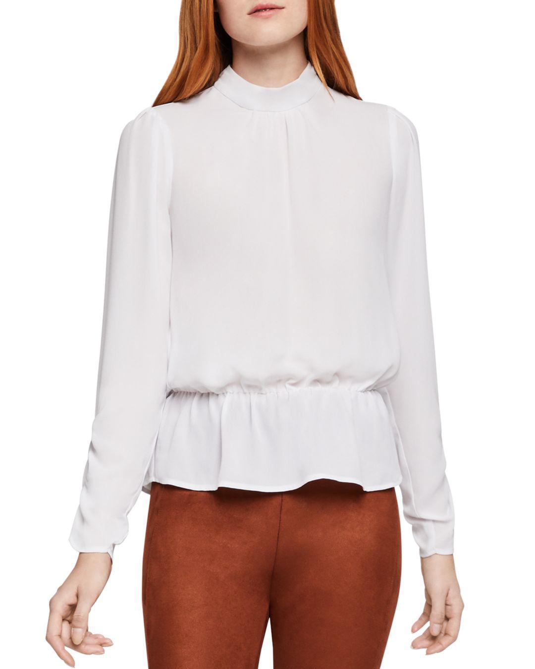 56a18e8345299 Lyst - Bcbgeneration Georgette Peplum Top in White