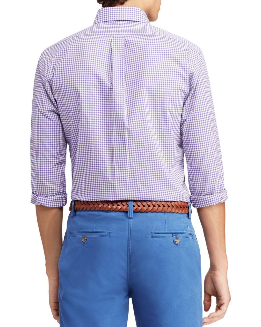 b5381e9f0dd ... clearance lyst polo ralph lauren gingham slim fit button down poplin  shirt in purple for men