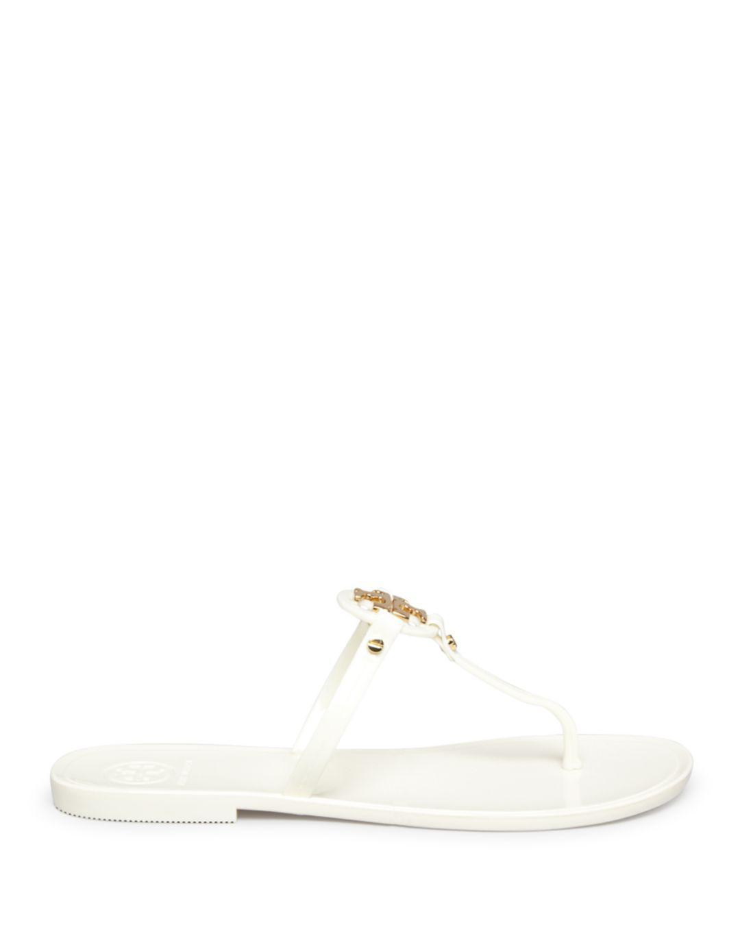 cf969246655 Tory Burch Mini Miller Jelly Flat Thong Sandals in Metallic - Lyst