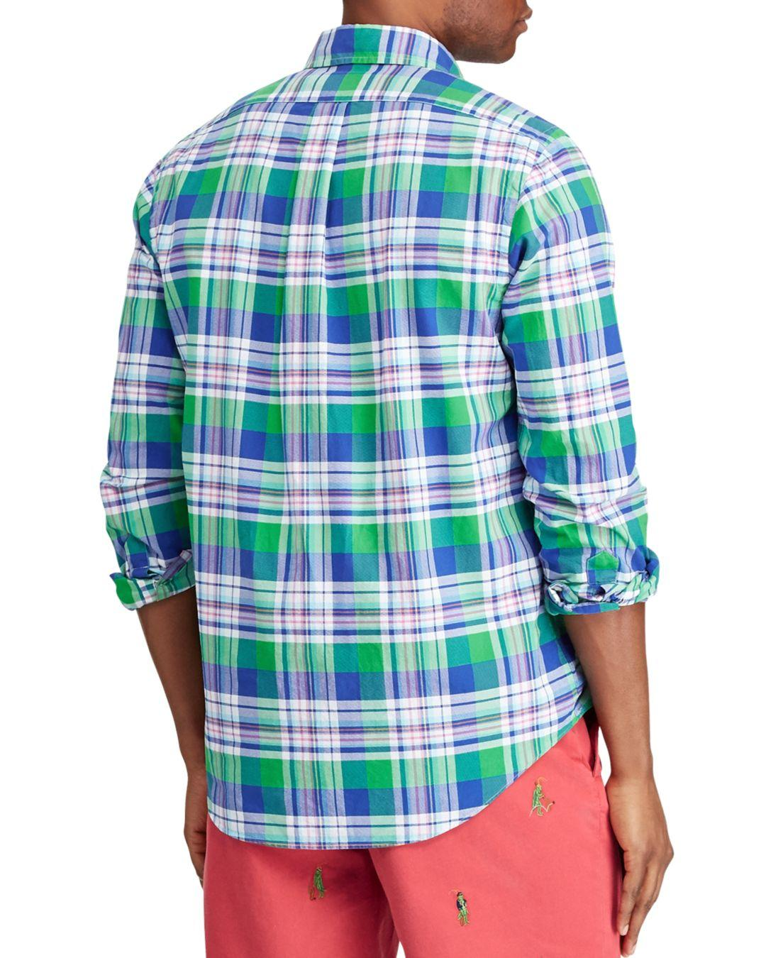 ab662640c7a82f Polo Ralph Lauren Plaid Slim Fit Button - Down Oxford Shirt in Blue for Men  - Save 66% - Lyst