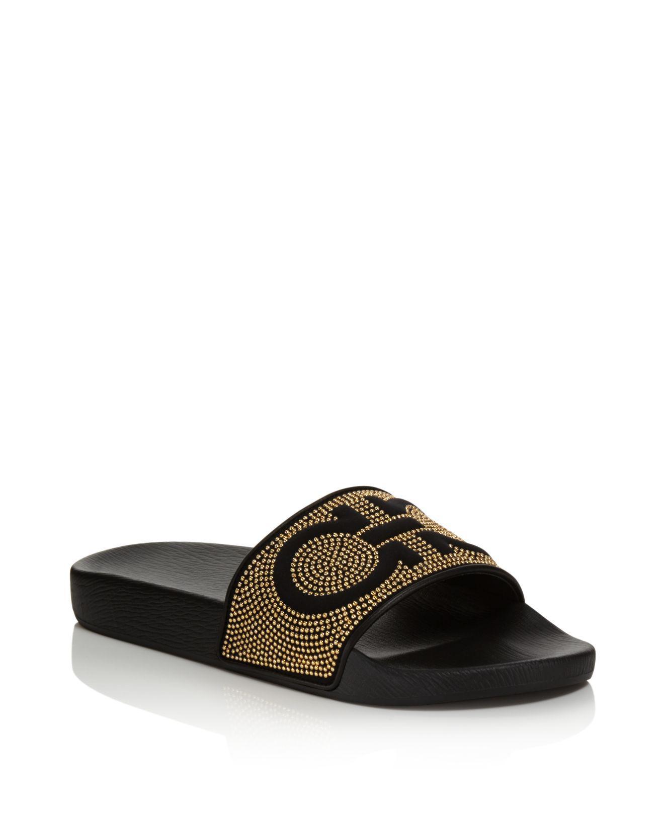 3ea51766a Ferragamo Women's Groove Studded Pool Slide Sandals in Black - Lyst