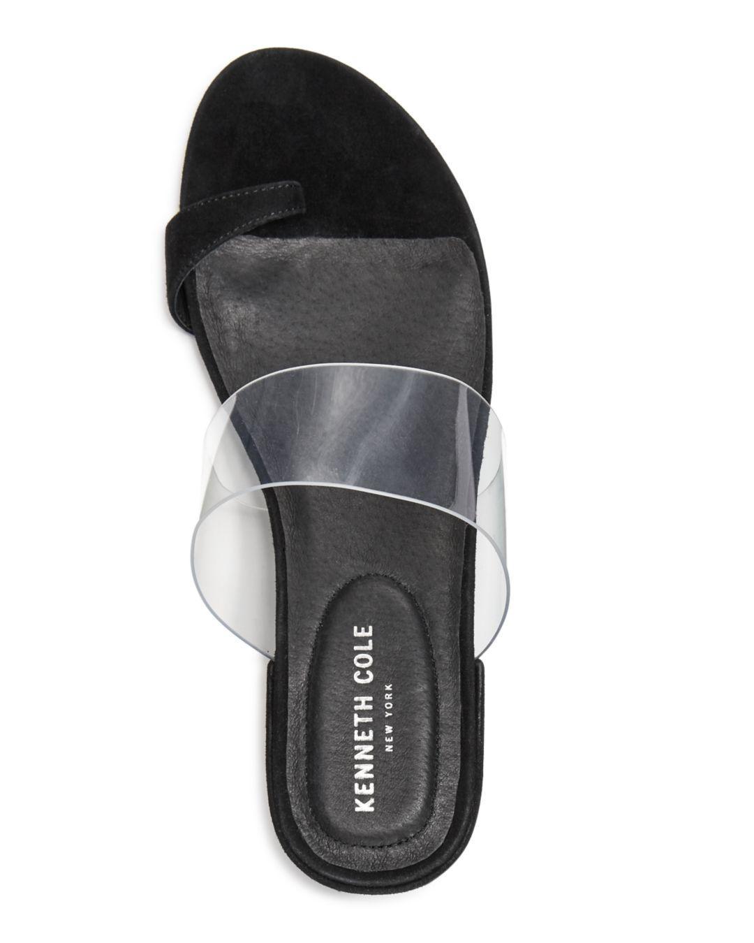 0aa9e3b19370 Kenneth Cole Women s Lizzie Clear   Suede Block Heel Sandals - Lyst