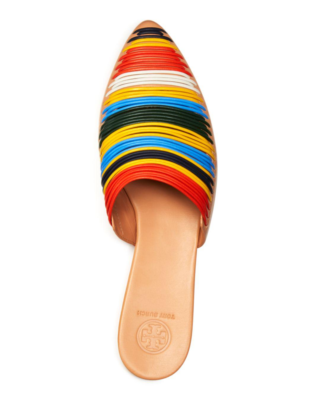 d519ea2b7f02 Tory Burch - White Women s Sienna Woven Leather Pointed Toe Mules - Lyst.  View fullscreen