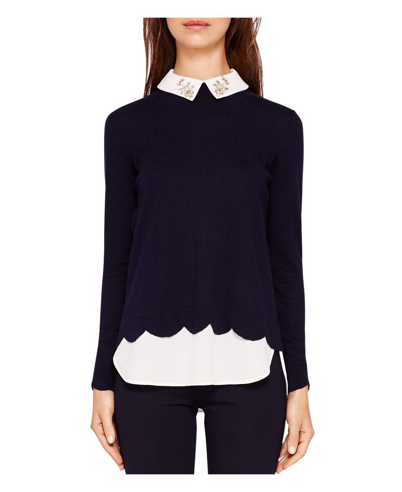 76550f8e1b54 Lyst - Ted Baker Suzaine Layered-look Sweater in Blue
