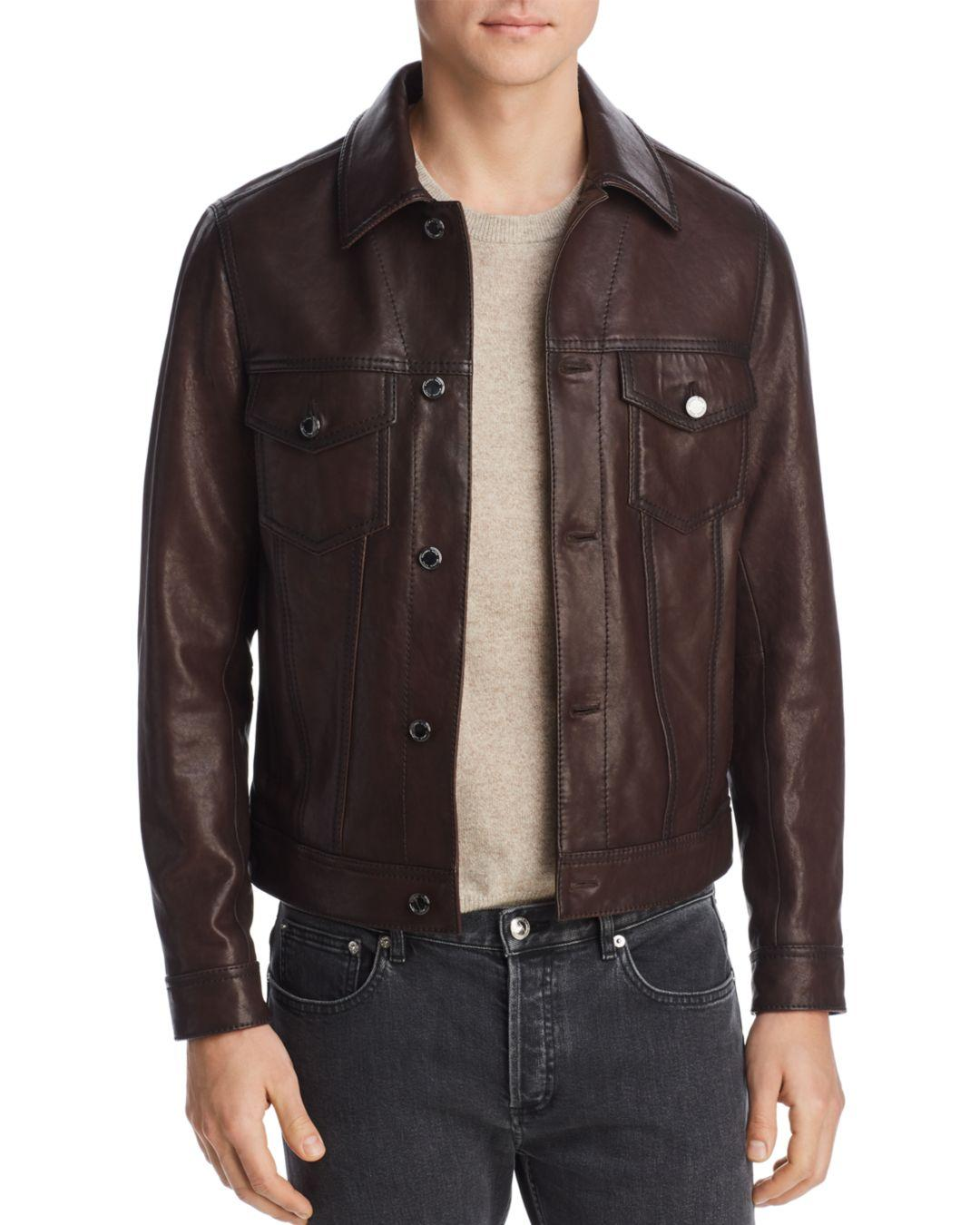 917678444f70c Lyst - Michael Kors Burnished Leather Jacket in Brown for Men