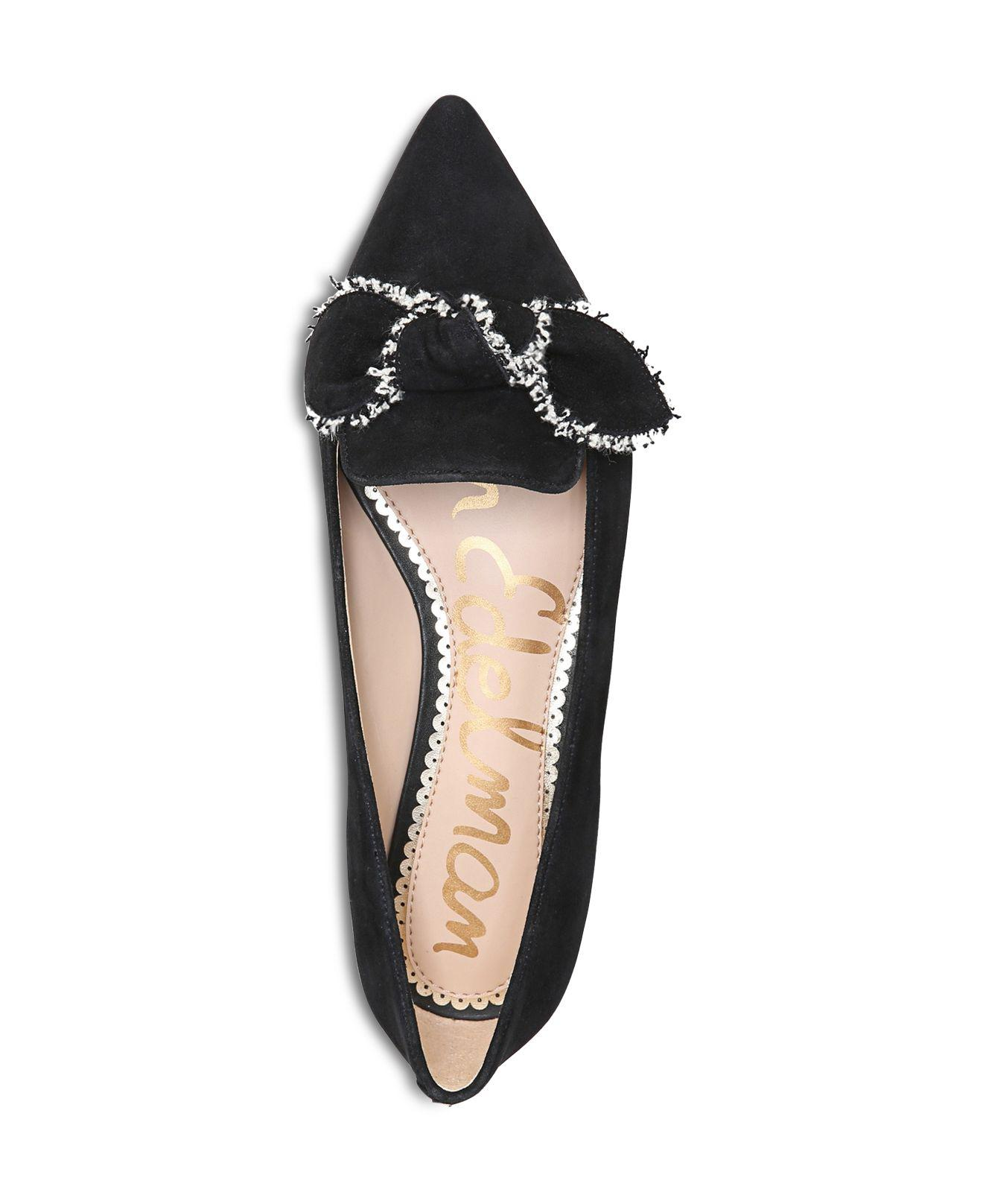 be2006f03 Lyst - Sam Edelman Rochester Suede Pointed Toe Bow Flats in Black