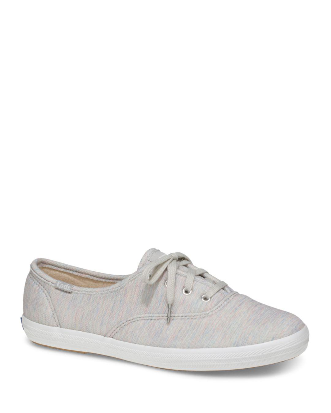 c5e7ea7b72b Lyst - Keds Women s Champion Jersey Lace Up Sneakers in Gray