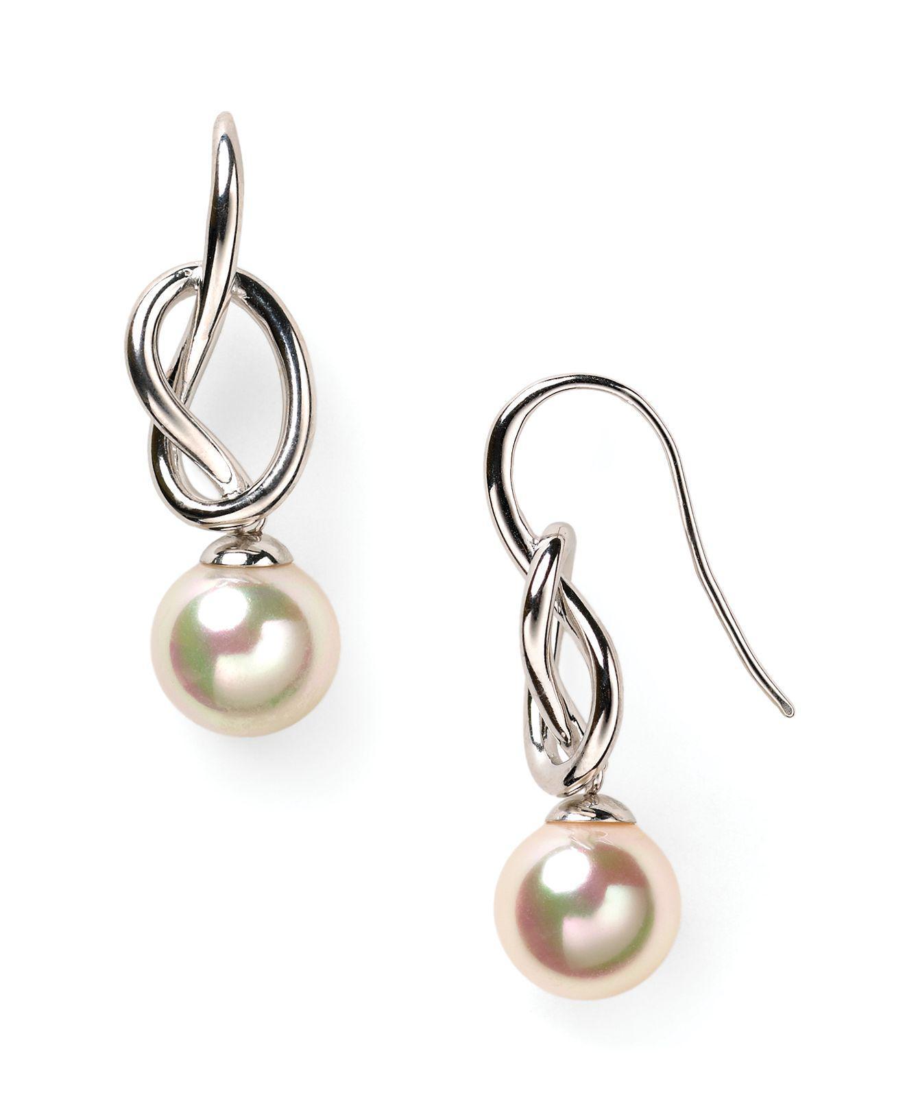 Majorica Pearl-Drop Silver Knot Earrings oHWBCrHHk