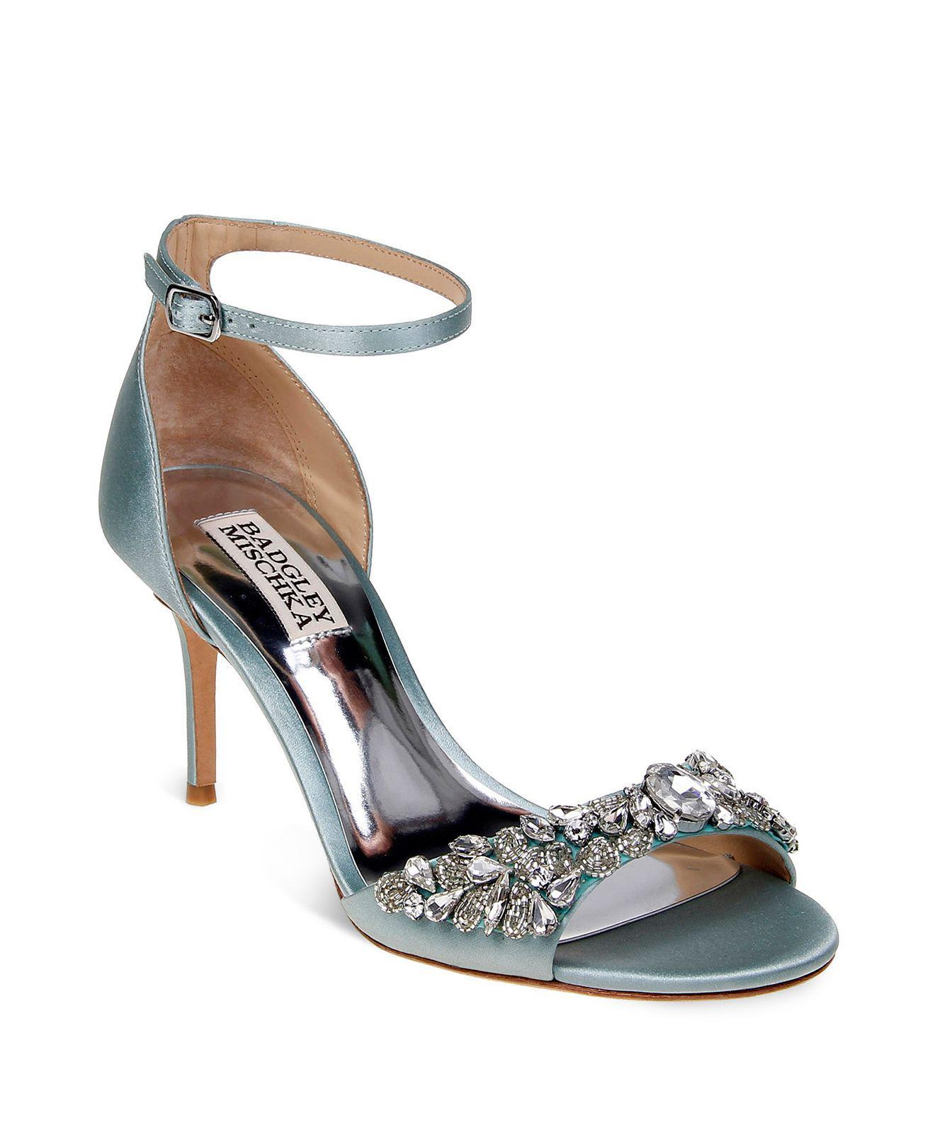0647d9879be Lyst - Badgley Mischka Bankston Satin Embellished Ankle Strap High ...