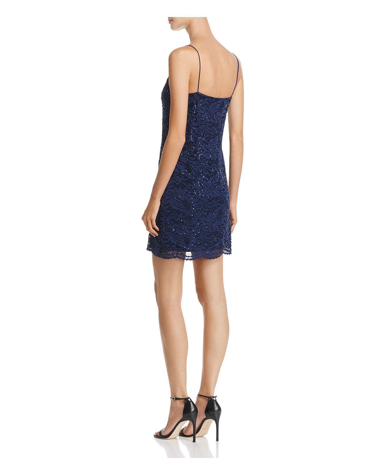 aqua sequined lace slip dress in blue lyst