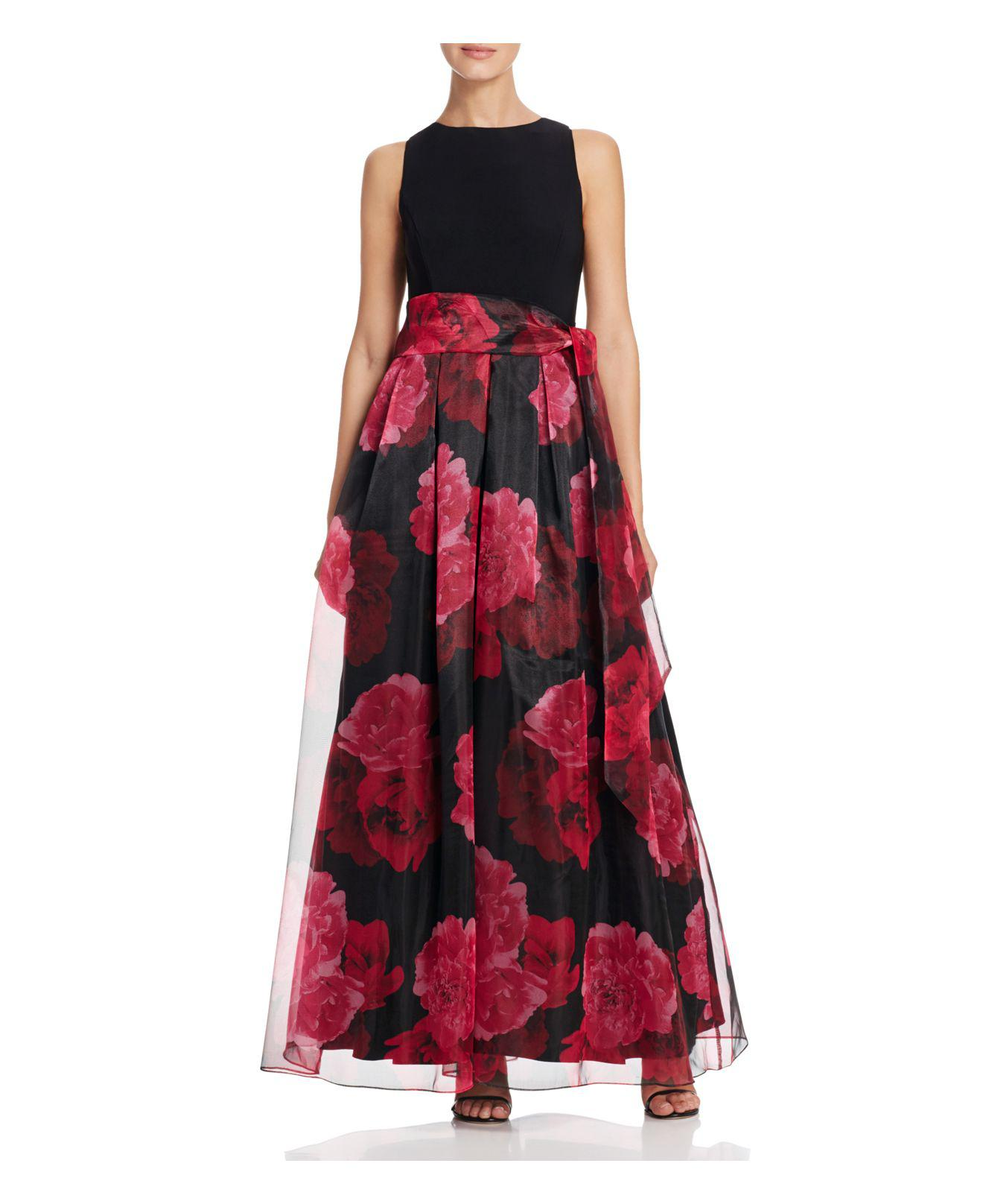Lyst - Eliza J Jewel Neck Sleeveless Floral Print Organza Ball Gown ...