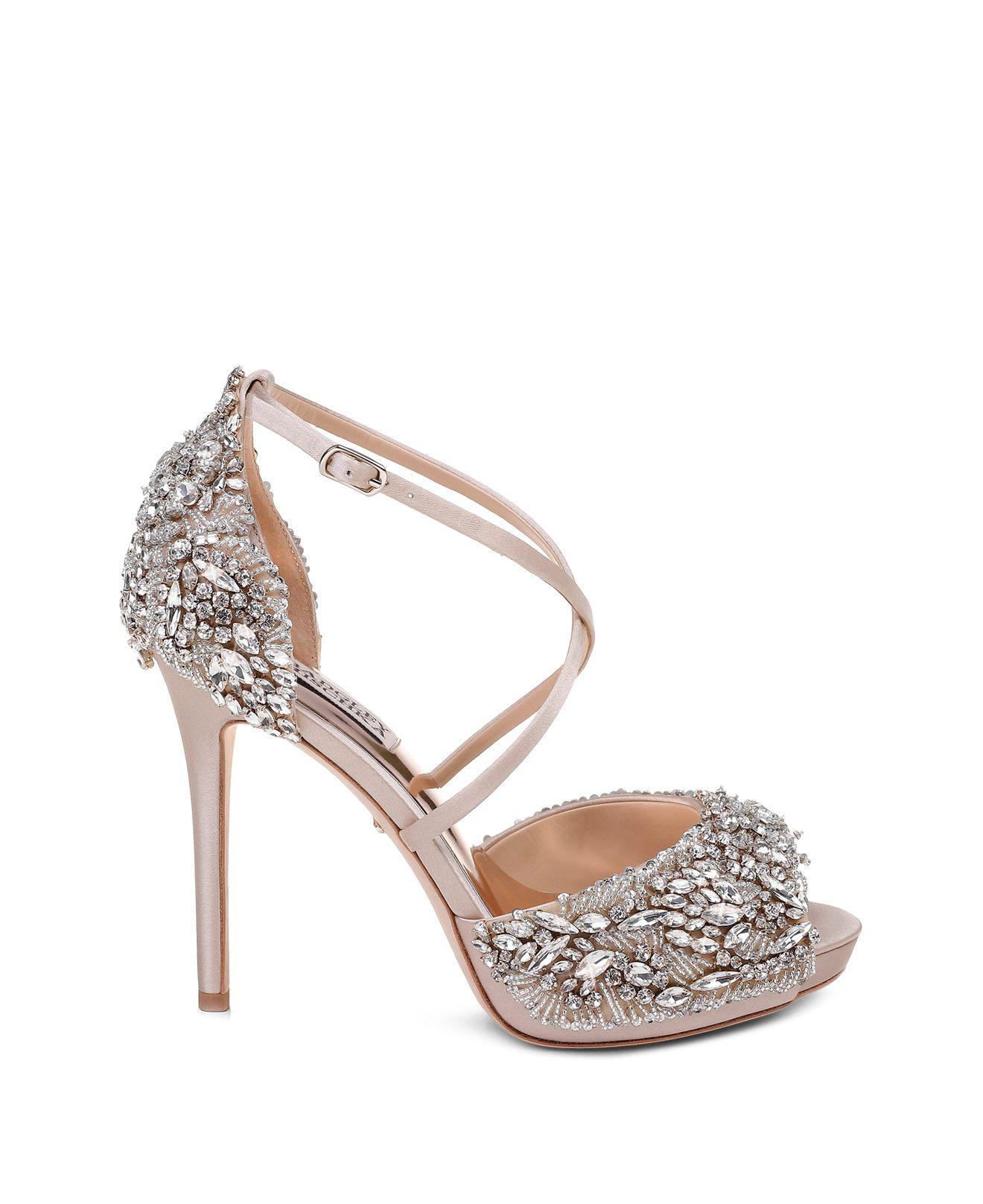 Badgley Mischka Women's Hyper Embellished Satin Platform High-Heel Sandals m5Q5uY5SM