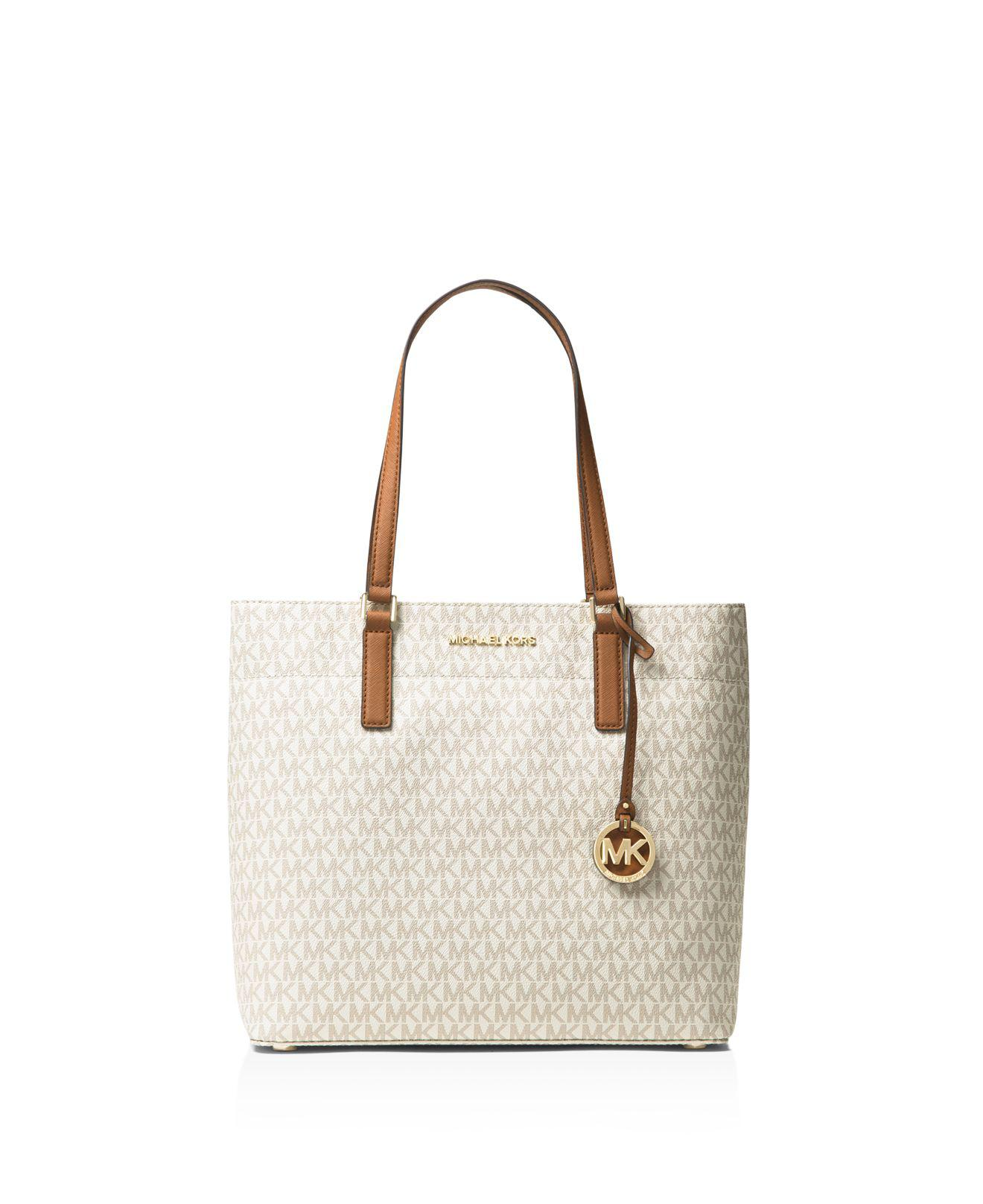 a9cd443c97262c MICHAEL Michael Kors Morgan Logo Large Tote in White - Lyst
