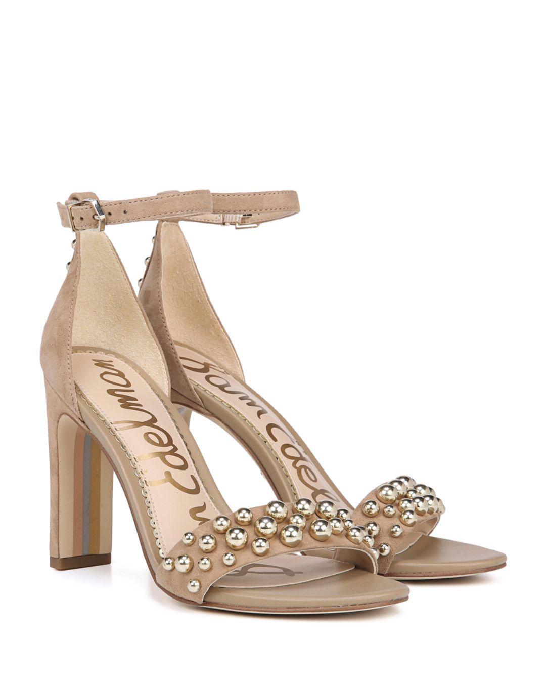 a312bd52d Sam Edelman - Natural Women s Yoshi Open Toe Studded Suede High-heel Sandals  - Lyst. View fullscreen