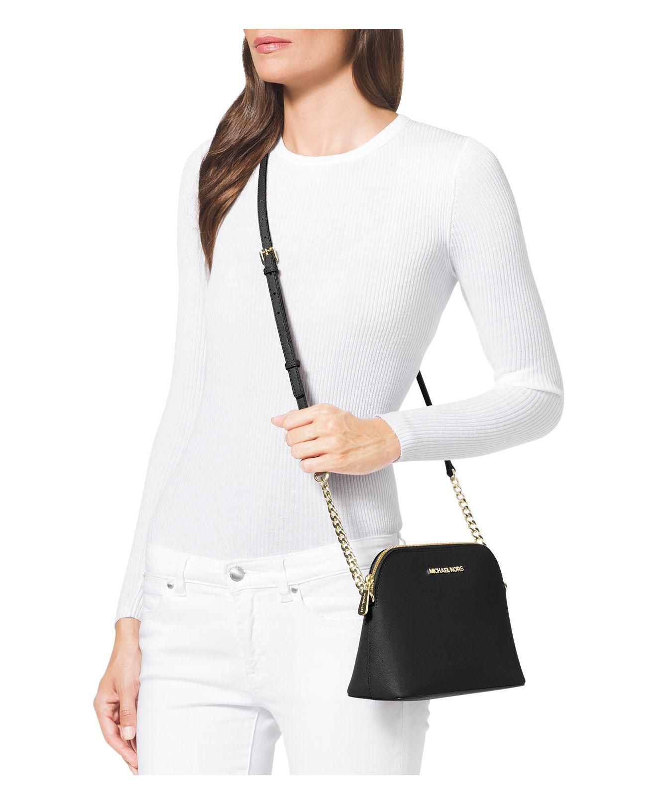 18fc3b24293e MICHAEL Michael Kors Cindy Large Dome Crossbody Bag in Brown - Lyst
