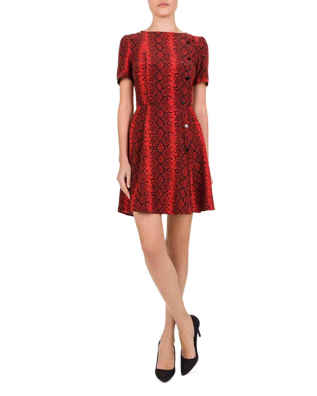 77c375fe645e7d The Kooples Red Hot Snake-print Mini Dress in Red - Lyst