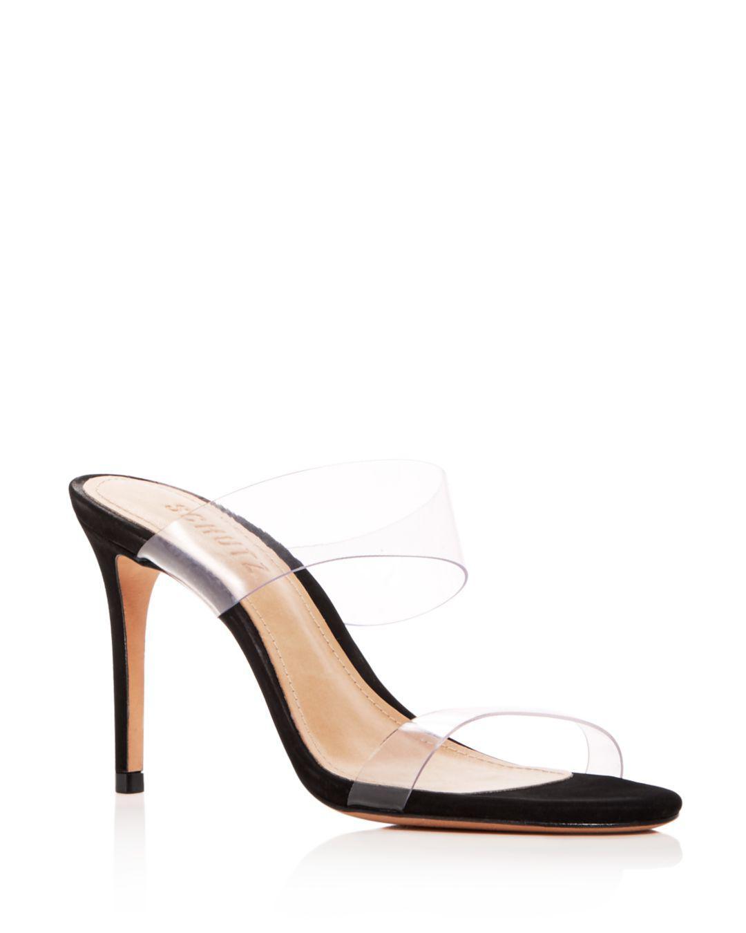 6672122df Schutz - Black Women s Ariella Clear Strap High-heel Slide Sandals - Lyst.  View fullscreen