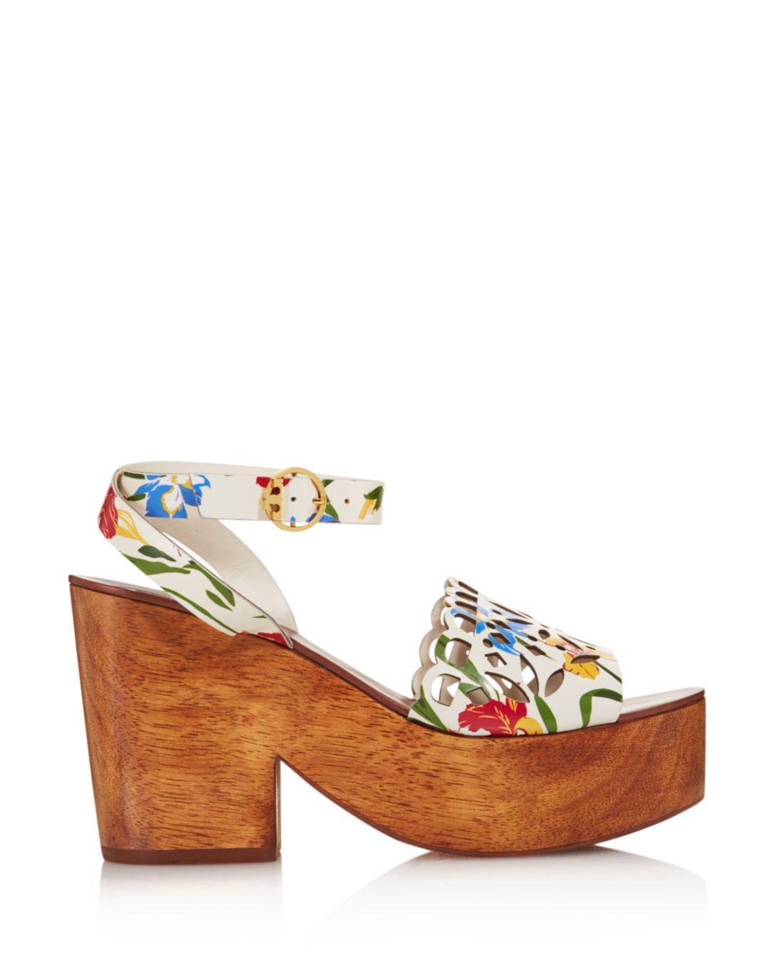 4fb55f64b Lyst - Tory Burch Women s May Leather Platform Block Heel Sandals