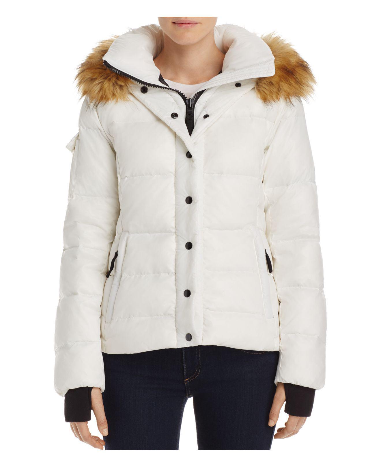 4a9df40bf9b16 Lyst - Aqua Faux Fur-trim Hooded Puffer Jacket in White