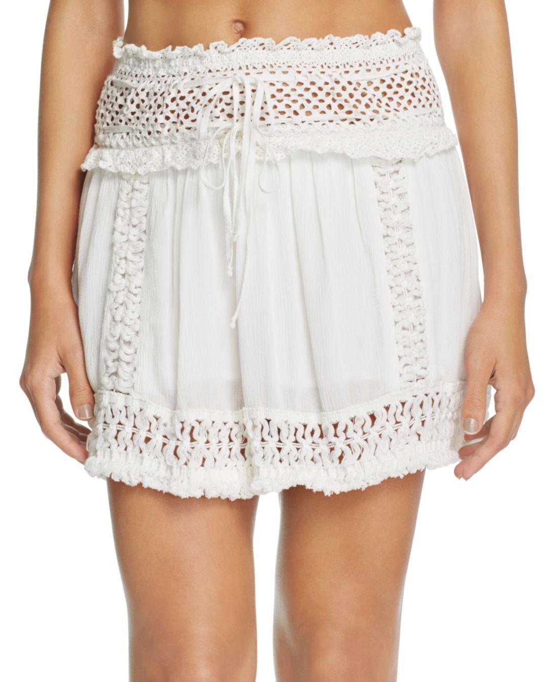 3a1da97a66 Surf Gypsy Crochet Fringe Mini Skirt Swim Cover - Up in White - Lyst