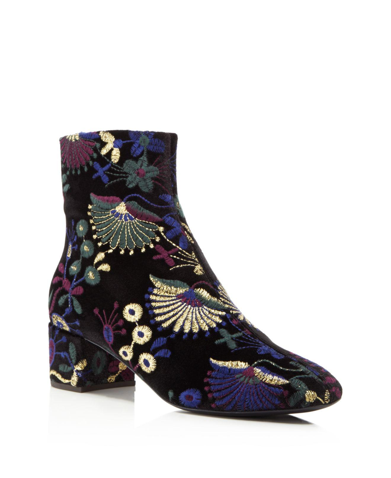 Giuseppe Zanotti Embroidered Velvet Block Heel Booties - 100% Exclusive 9LLIm