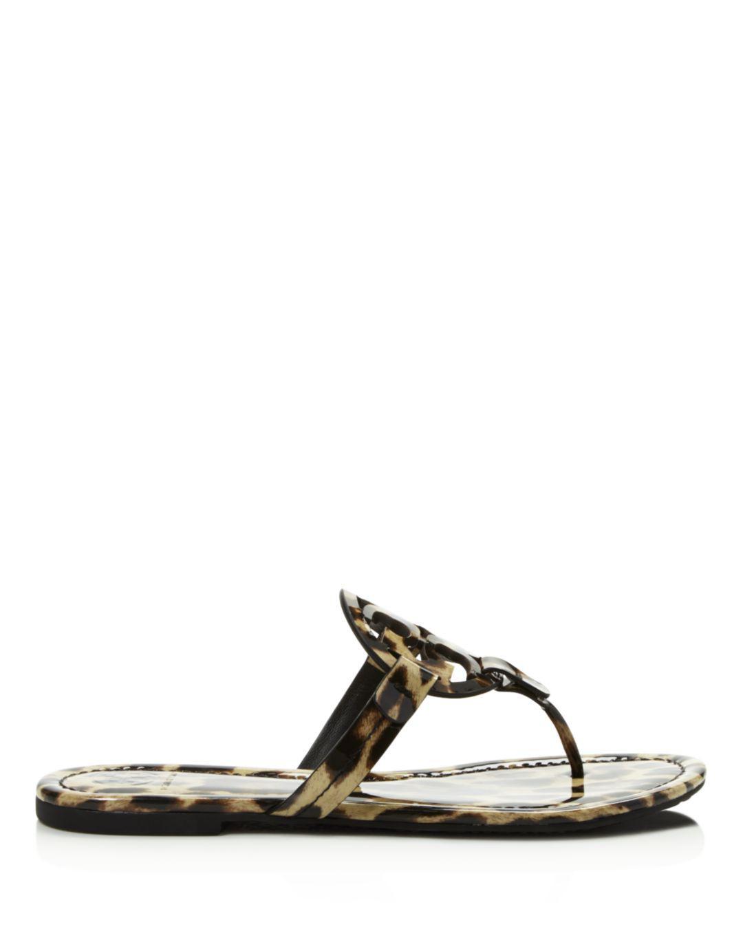 5a365fc9df5b Tory Burch Women s Miller Leopard Print Thong Sandals - Lyst