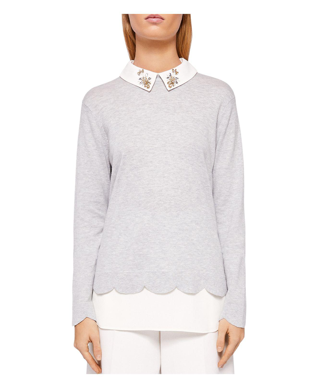5ac0355927df Lyst - Ted Baker Suzaine Layered-look Sweater in Gray