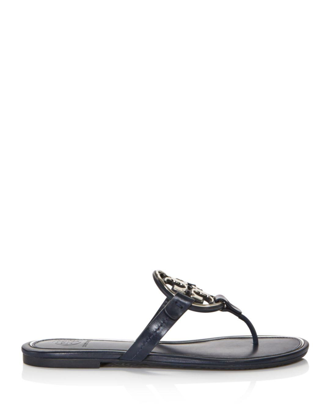 909533ce0c39 Lyst - Tory Burch Women s Metal Miller Leather Thong Sandals in Blue