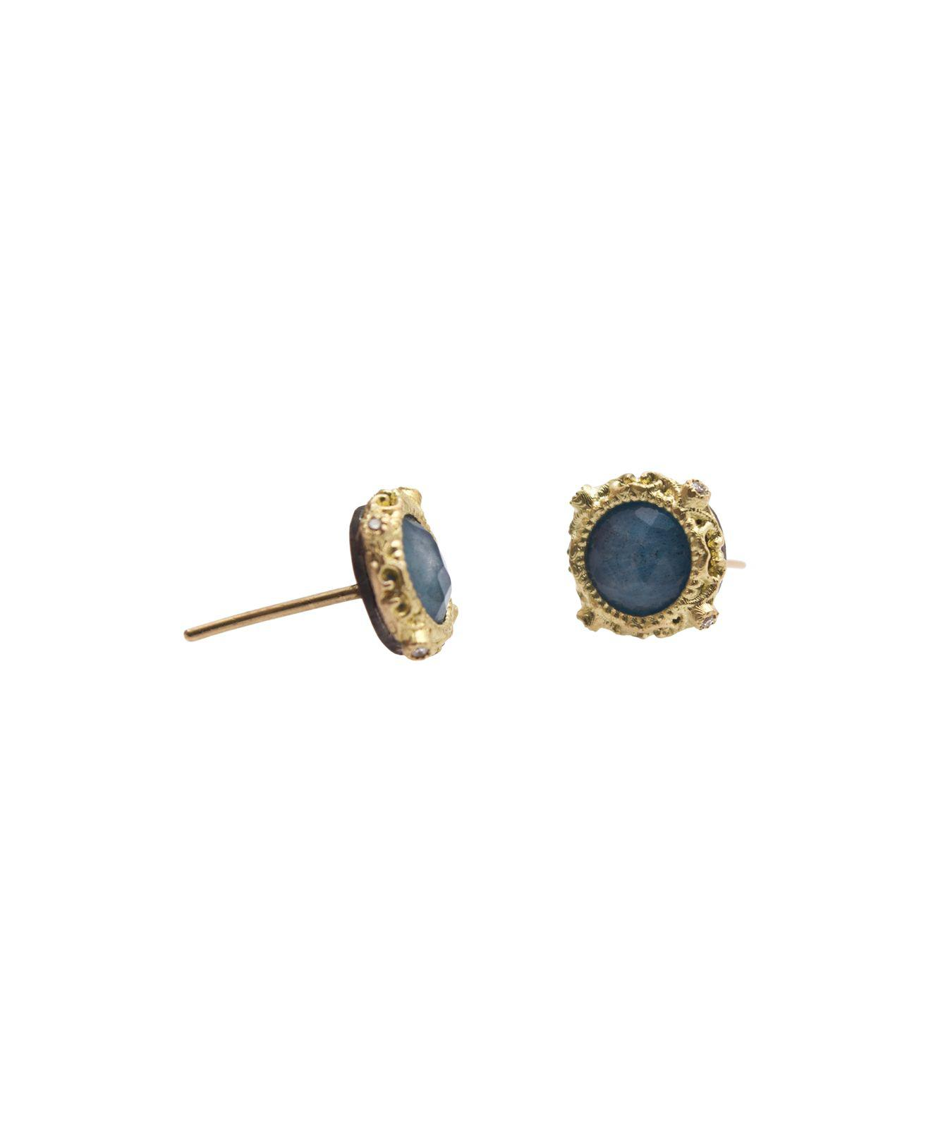 Armenta New World Emerald-Cut Blue Quartz Triplet Earrings with Diamonds 18EKJ2Gl